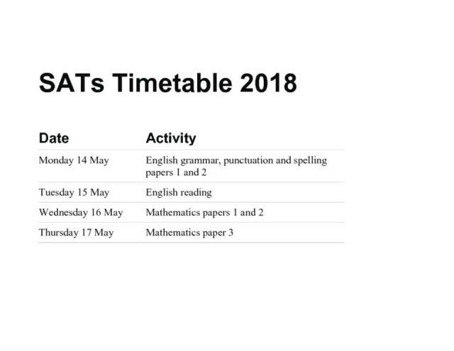 thumbnail of SATs Timetable 2018