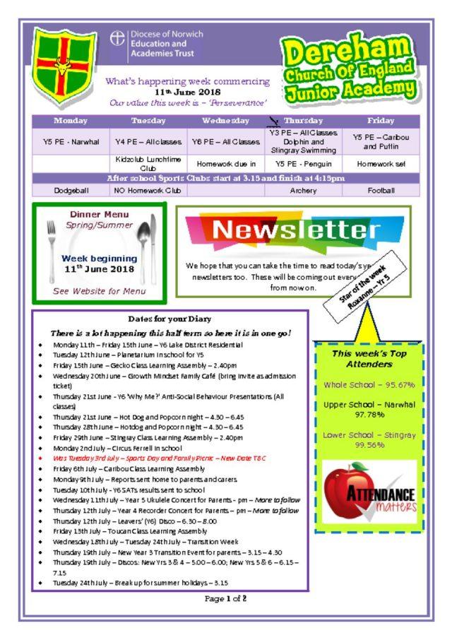 thumbnail of Weekly Bulletin week beginning 11.06.18