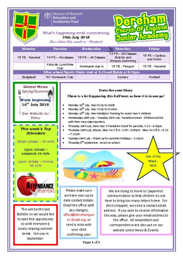thumbnail of Weekly Bulletin Week Beginning 16.07.18