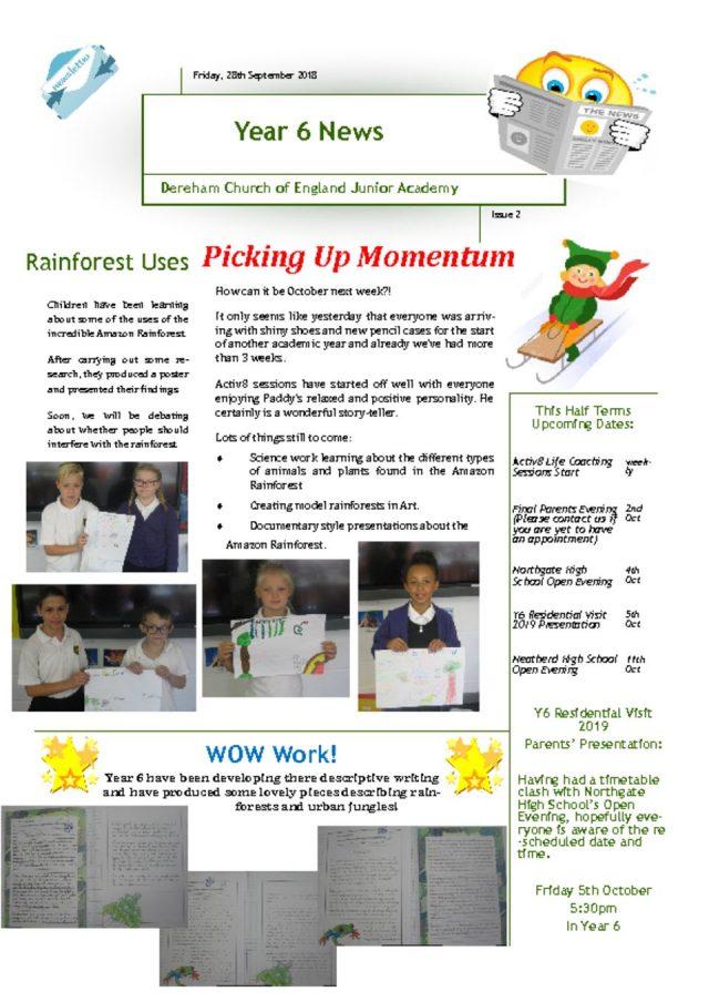 thumbnail of Yr 6 Newsletter 01.10.18