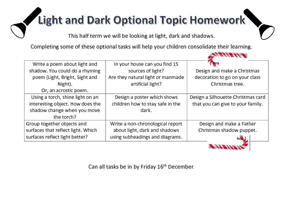 thumbnail of YEAR 3 – Optional Topic Homework Light and Dark