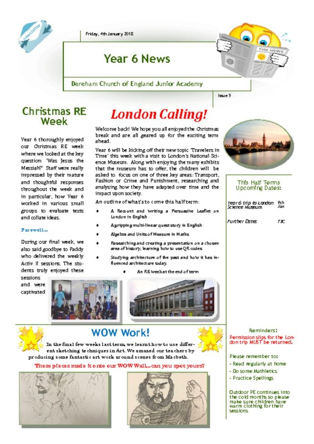 thumbnail of Year 6 Newsletter 04.01.19