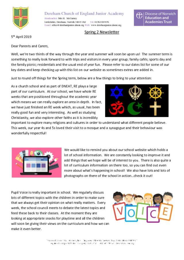 thumbnail of Half Term newsletter – 5.4.19
