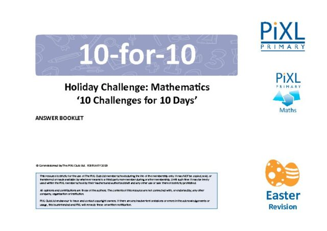 thumbnail of Maths 10-4-10 Easter Holiday Challenge – Answers