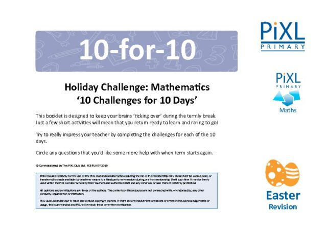 thumbnail of Maths 10-4-10 Easter Holiday Challenge – Questions