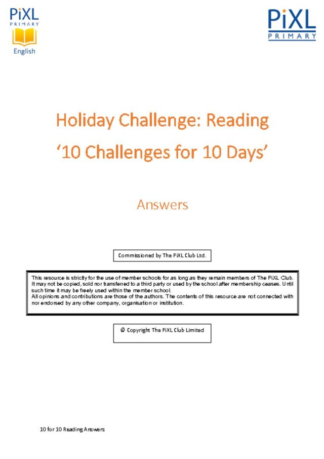 thumbnail of Reading 10 for 10 Easter Holiday Challenge – Answers