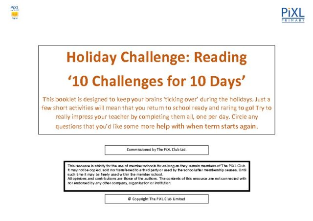 thumbnail of Reading 10 for 10 Easter Holiday Challenge – Questions