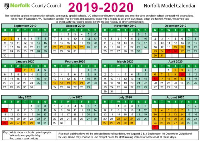 thumbnail of Term date calendar 2019 to 2020