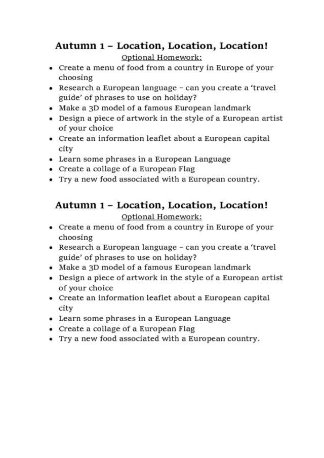thumbnail of Year 5 – Autumn 1 optional homework