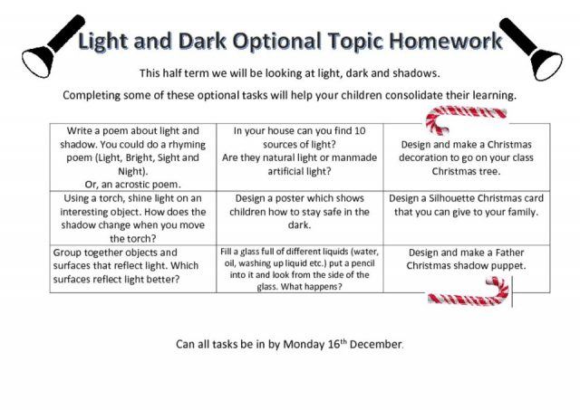 thumbnail of Optional Topic Homework Light and Dark Year 3