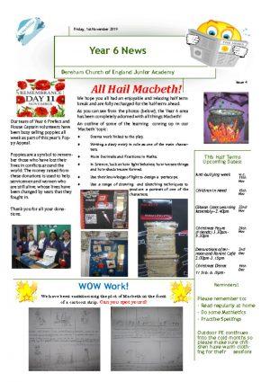 thumbnail of Year 6 Newsletter