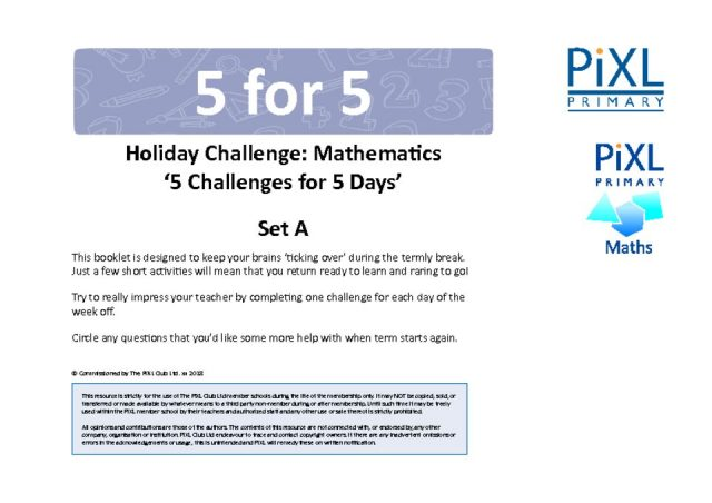 thumbnail of Pixl Primary Mathematics 5 for 5